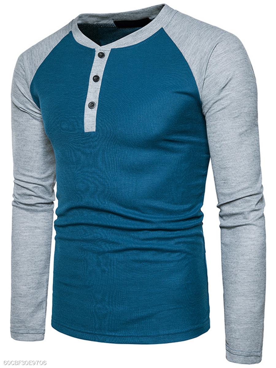 Henley Collar Color Block Raglan Sleeve Long Sleeve Long Sleeves T