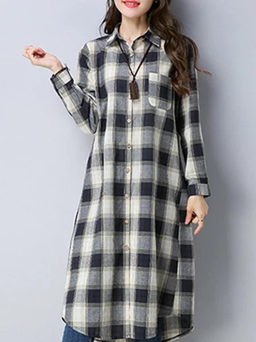 patch pocket plaid casual autumn winter shift Turn Down Collar  Patch Pocket  Plaid  Cotton/Linen Shift Dress