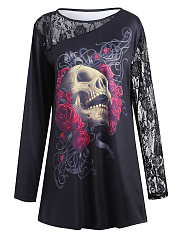 T-shirt Taille Plus Imprimé Transparent Skull