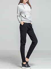 Solid Fleece Lined Casual Jogger Pants