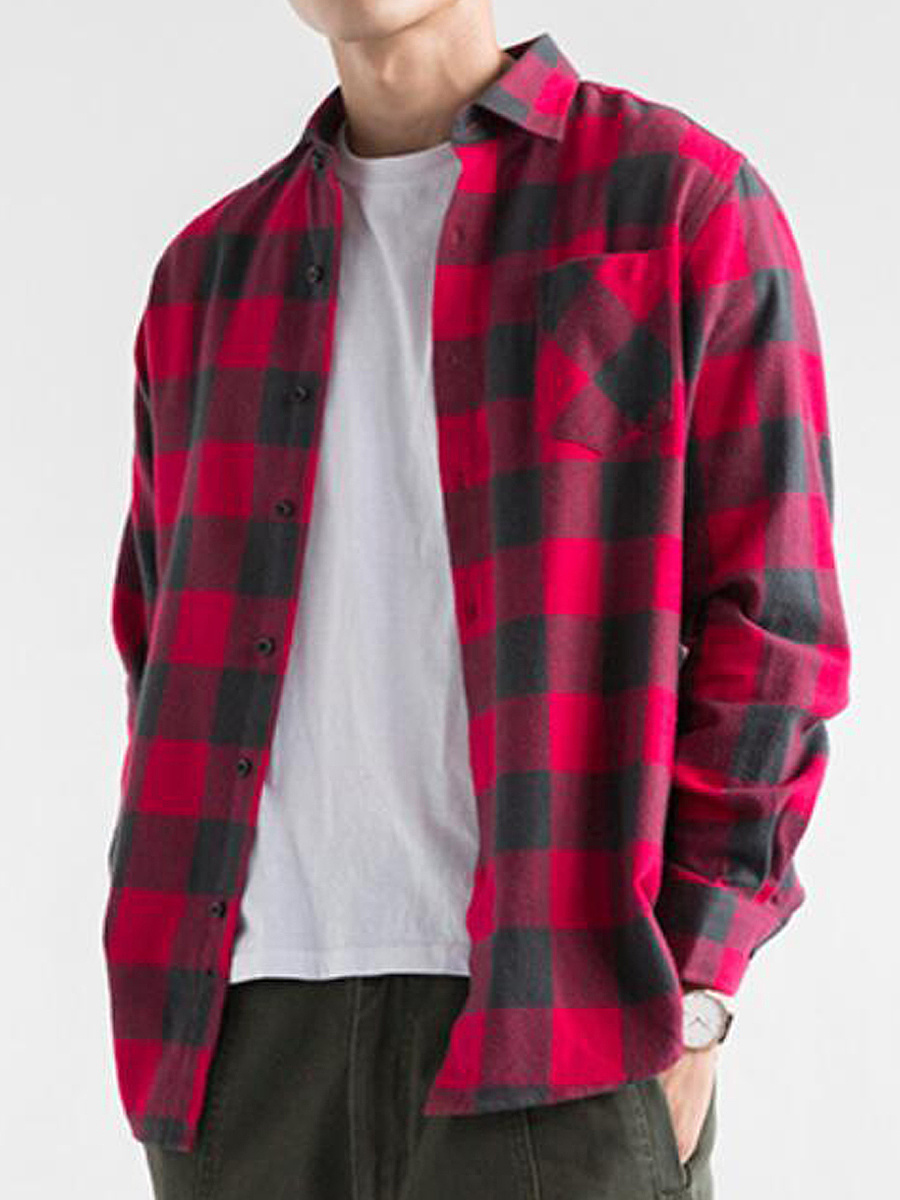 Men Casual Patch Pocket Check Shirts