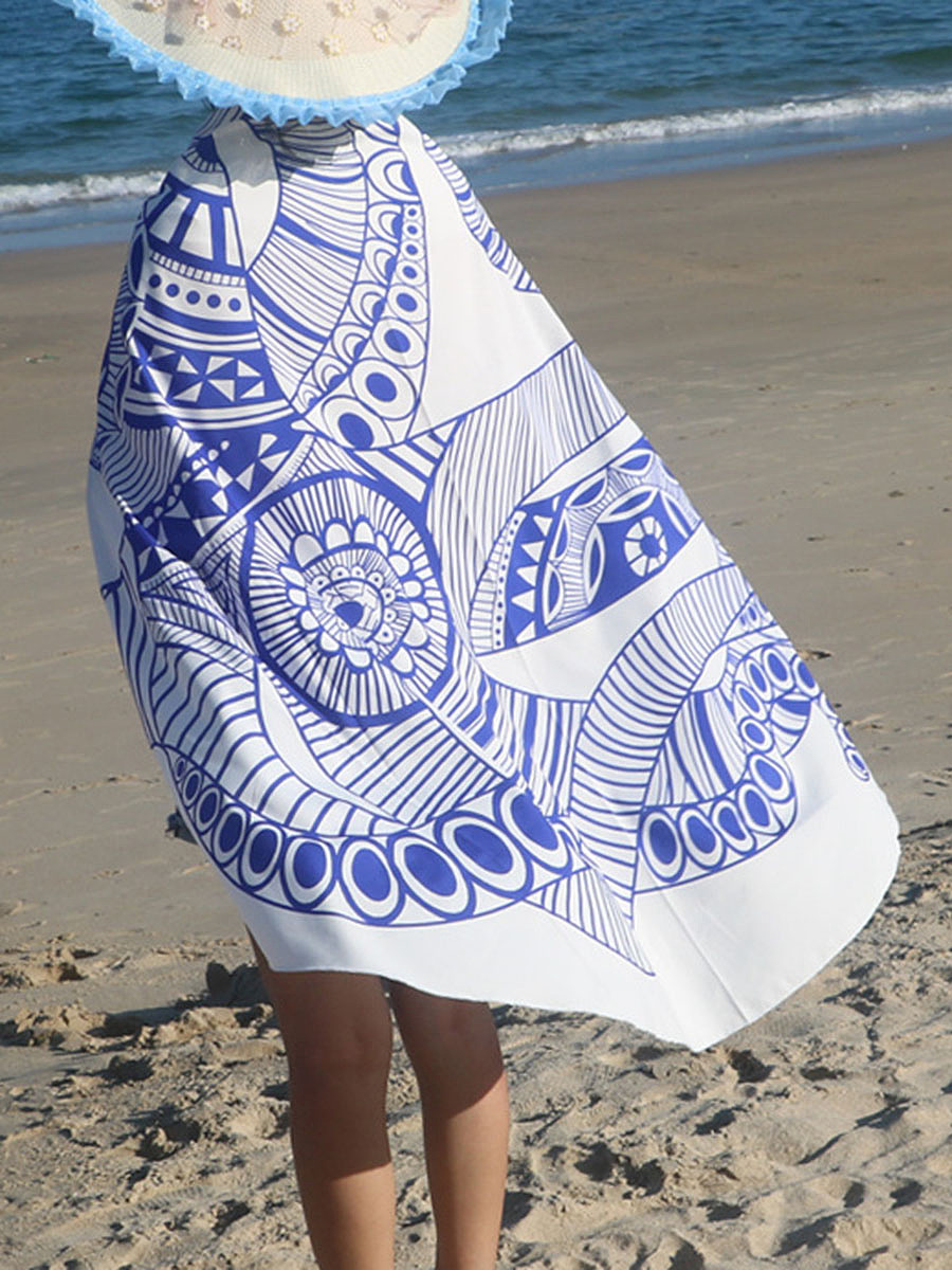 Octopus Pattern Printed Round Beach Shawl