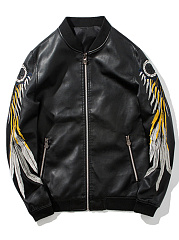 Band Collar Embroidery PU Leather Men Bomber Jacket