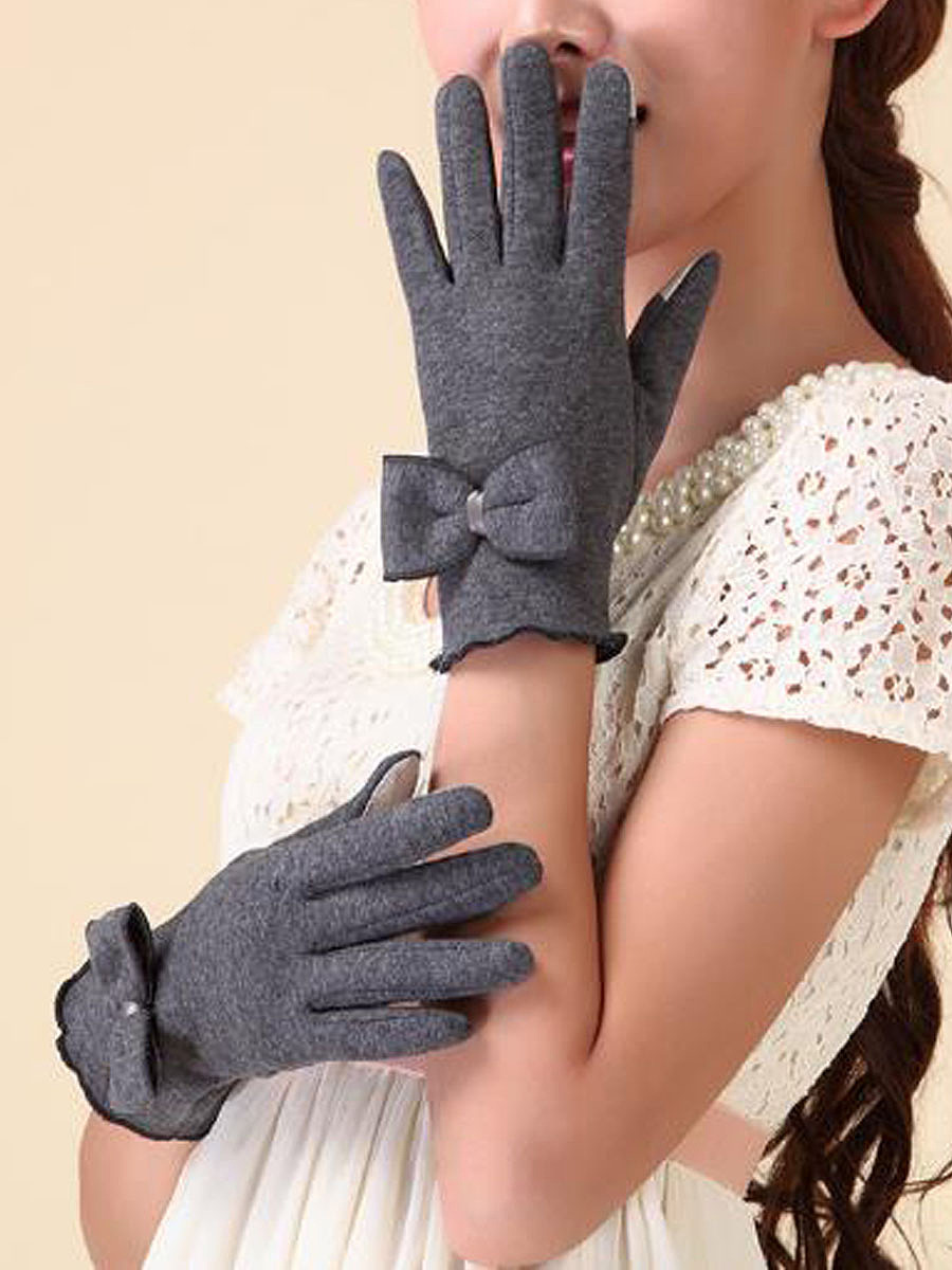 Warm Elegance Bowknot Decorative Cotton Gloves