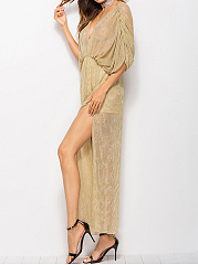 Deep V-Neck High Slit Batwing Sleeve Hollow Out Plain Evening Dress