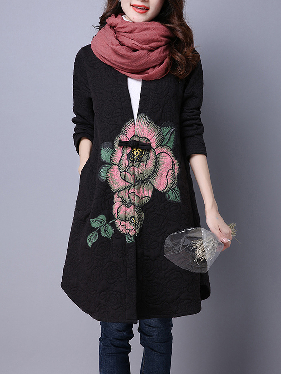 Curved Hem Quilted Single Button Floral Coat