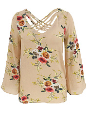 V-Neck Hollow Out Floral Printed Long Sleeve T-Shirt