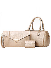 Rose Printed Three Pieces Plain Hand Bags For Women