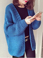 Collarless-Striped-Long-Sleeve-Cardigans