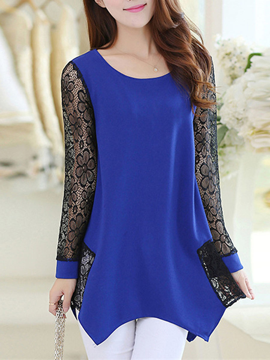 Asymmetric Hem Patchwork See-Through Blouse