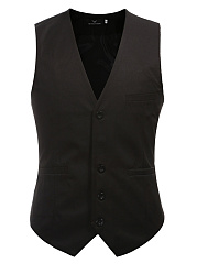 Men Collarless  Single Breasted  Plain Waistcoat