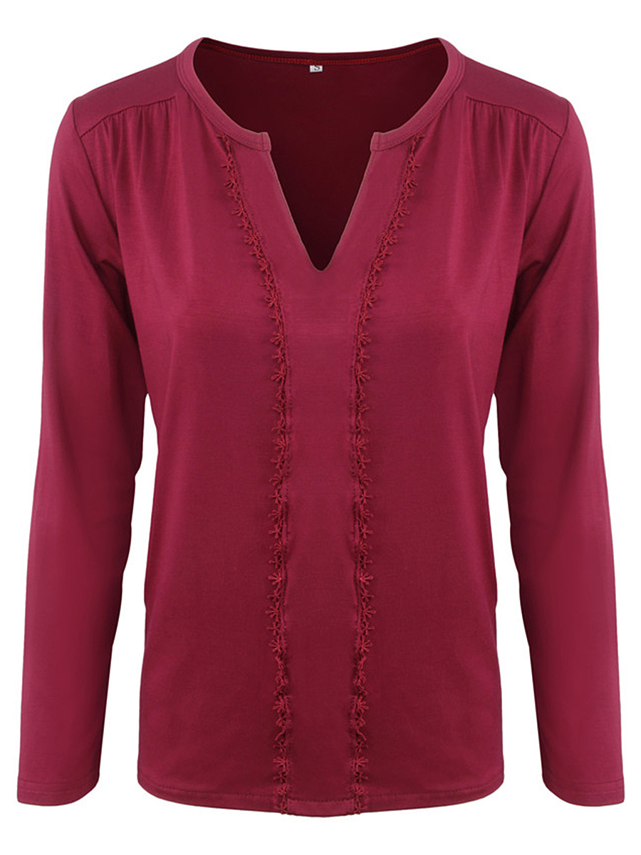 Split Neck  Decorative Lace  Plain Long Sleeve T-Shirt