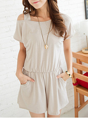 Basic Open Shoulder Slit Pocket Plain Romper