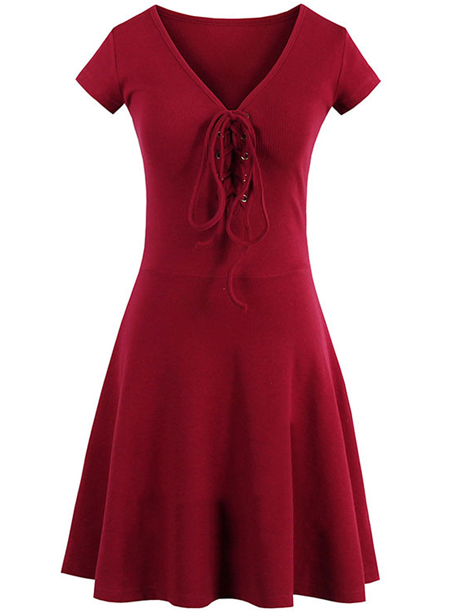 V-Neck  Lace-Up  Plain  Cotton Skater Dress