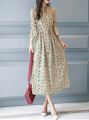 Tie Collar  Printed Maxi Dress