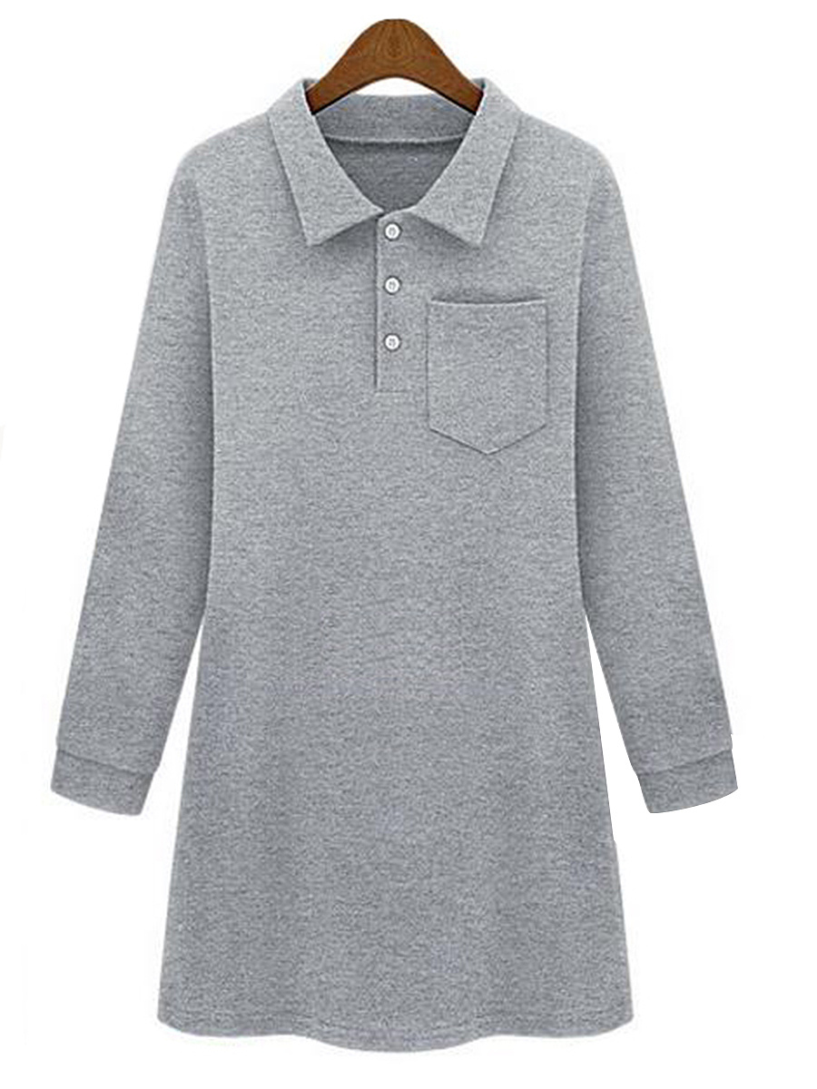 Plain  Patch Pocket Polo Collar Shift Dress