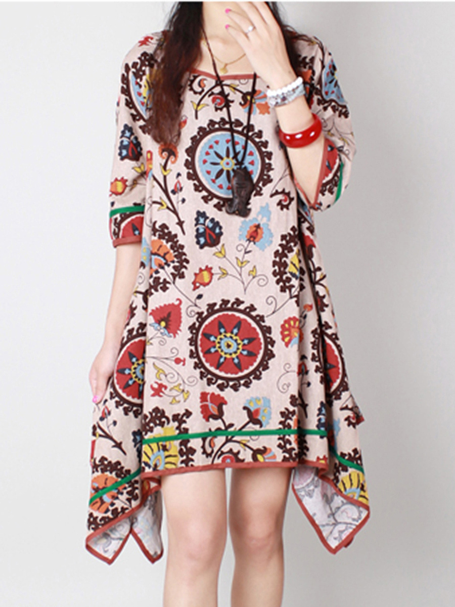 Fantastic Printed Asymmetric Hem Round Neck Shift Dress