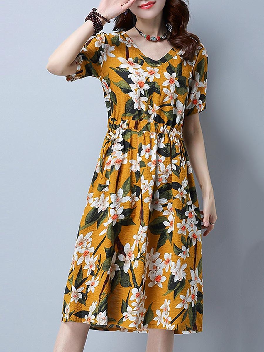V-Neck Drawstring Casual Floral Printed Skater Dress