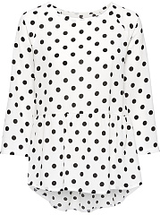 Polka Dot High-Low Long Sleeve T-Shirt