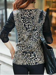 Autumn Spring Winter  Spandex  Women  V-Neck  Patch Pocket  Leopard  Long Sleeve Long Sleeve T-Shirts