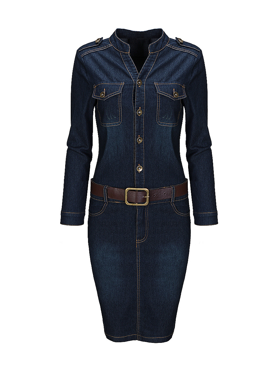 Split Neck  Flap Pocket Contrast Stitching  Denim Bodycon Dress