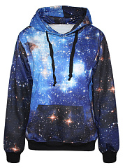 Kangaroo Pocket Starry Sky Printed Men Hoodie