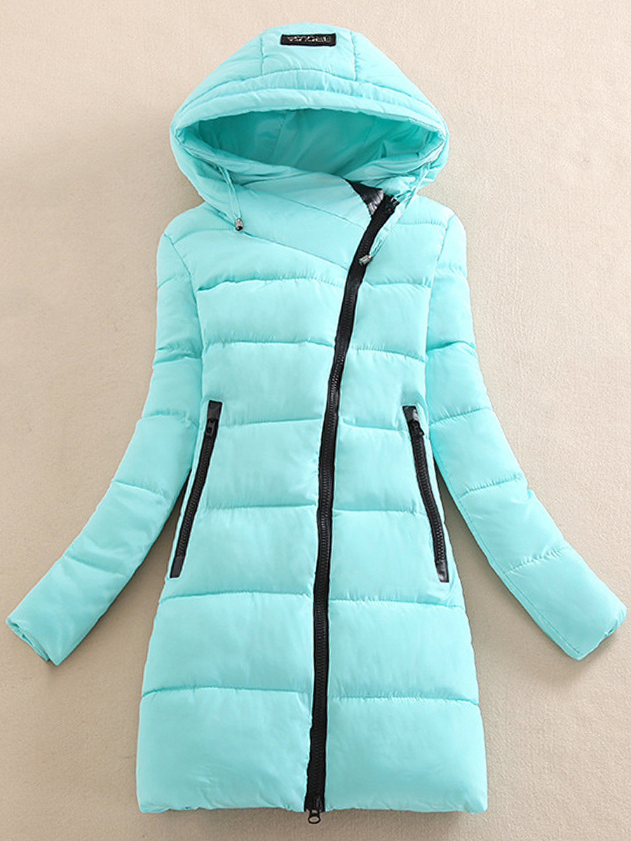 Hooded Zips Pocket Longline Quilted Padded Coat