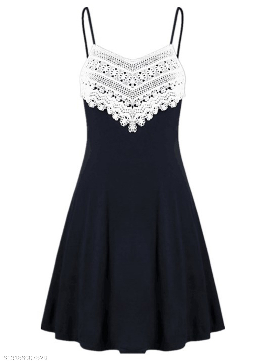 Spaghetti Strap  Decorative Lace  Plain Skater Dress