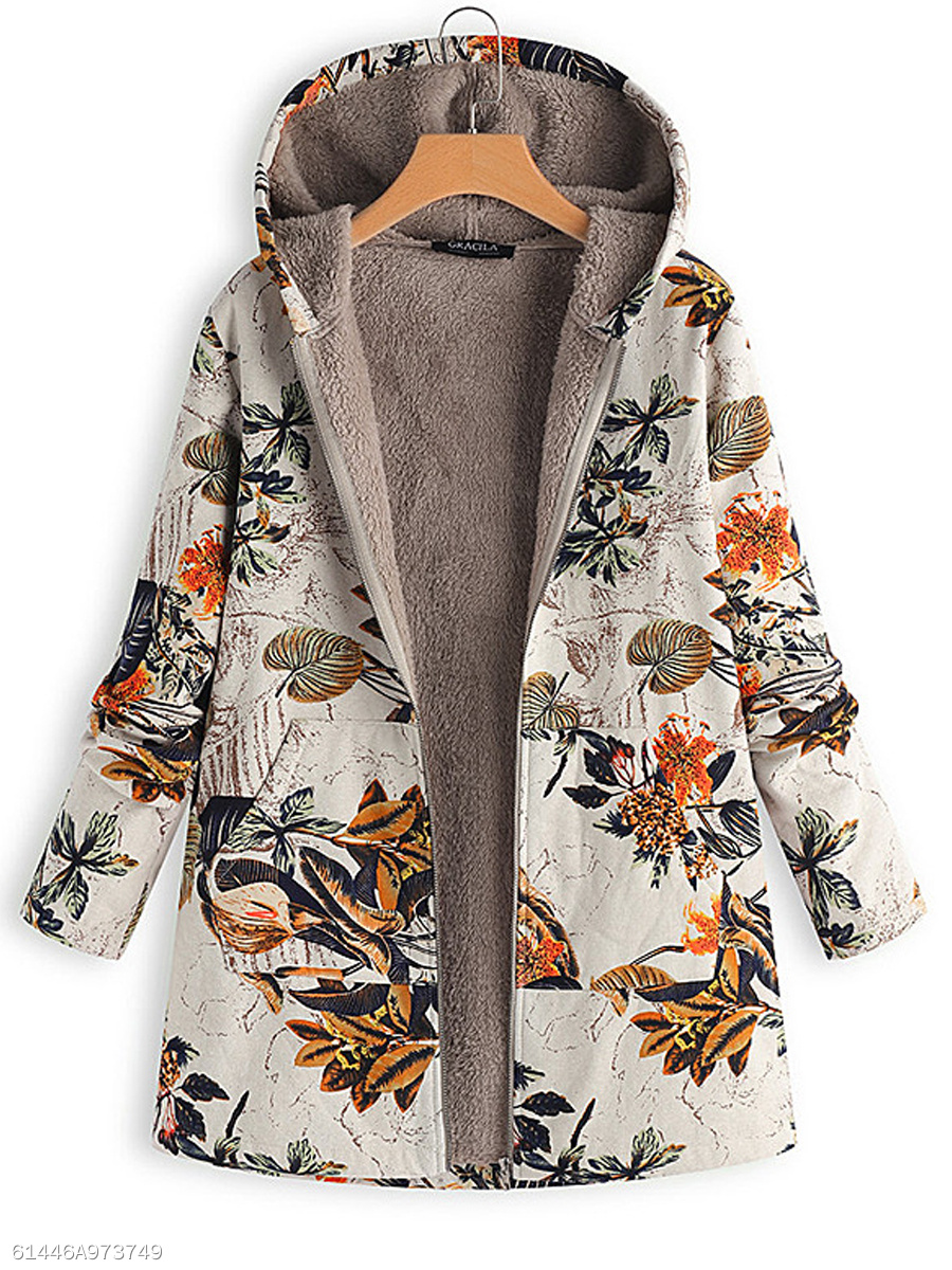 Hooded Zips Printed Long Sleeve Coats