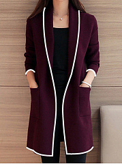 Lapel Casual Solid Trench Coats