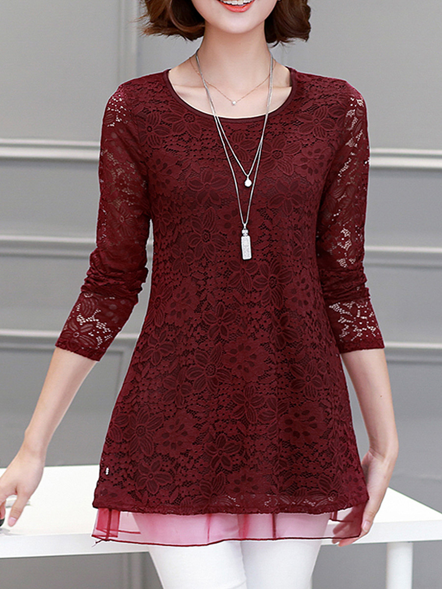Round Neck Hollow Out Lace Plain Blouse