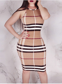 Spaghetti Strap  Plaid Bodycon Dress