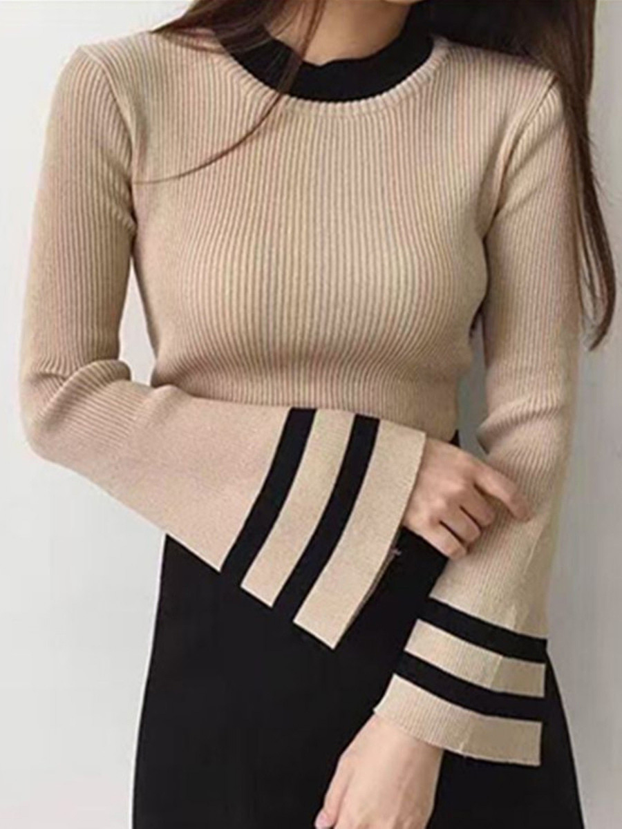 Round Neck Knitted Striped Bell Sleeve T-Shirt