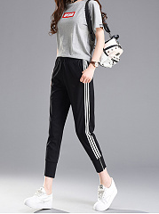 Fashion Lightweight  Vertical Striped  Slim-Leg  Mid-Rise Suits  Co-Ords