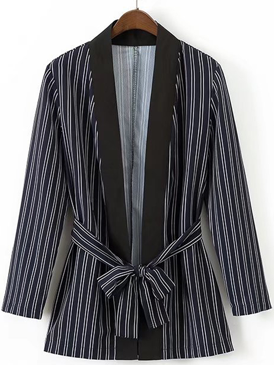 Vertical Striped Tie-Front Blazer