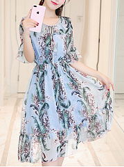 Round Neck  Elastic Waist Flounce  Printed Skater Dress