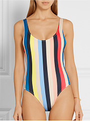 Round Neck  Backless  Striped One Piece