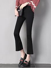 Plain-Pocket-Flared-Slit-Casual-Pants