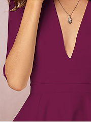 Sexy Deep V-Neck Solid Midi Skater Dress No Pockets