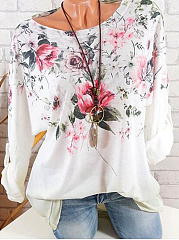 Round Neck  Loose Fitting  Floral Long Sleeve T-Shirts
