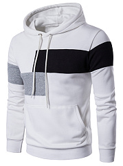 Color Block Kangaroo Pocket Men Hoodie