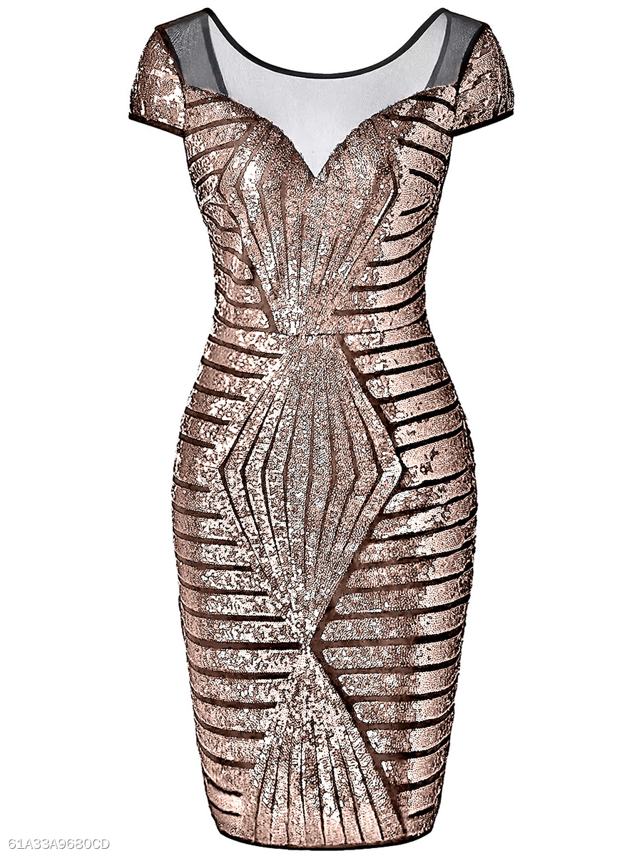 Round Neck Glitter See-Through Bodycon Dress