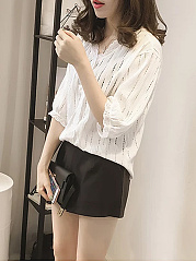 Spring Summer  Cotton  Women  V-Neck  Hollow Out  Half Sleeve Blouses