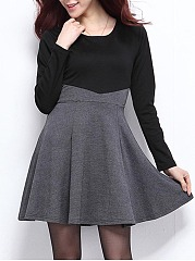 Round Neck Color Block Mini Skater Dress