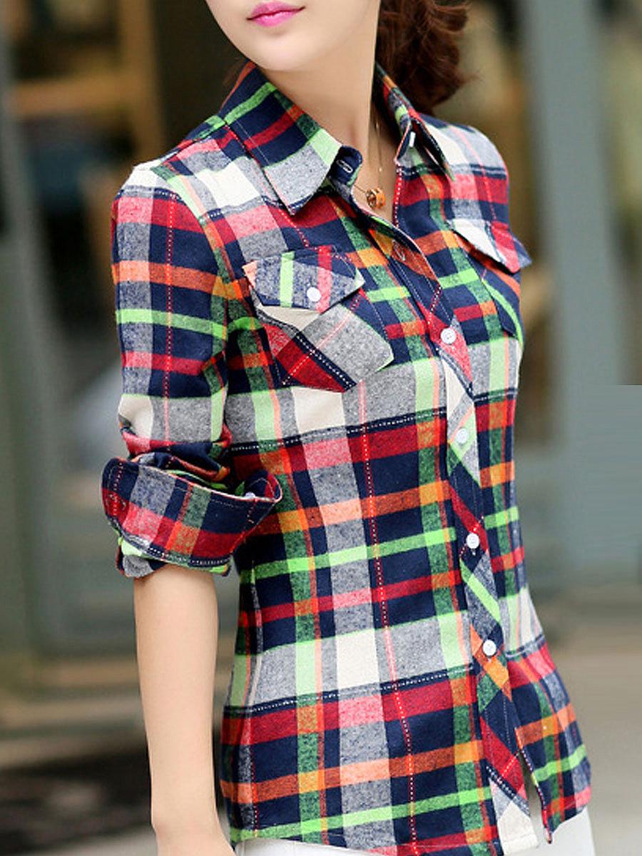 Autumn Spring  Cotton  Women  Turn Down Collar  Plaid  Long Sleeve Blouses