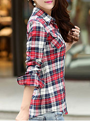 Autumn Spring  Cotton  Women  Turn Down Collar  Plaid  Long Sleeve Blouses