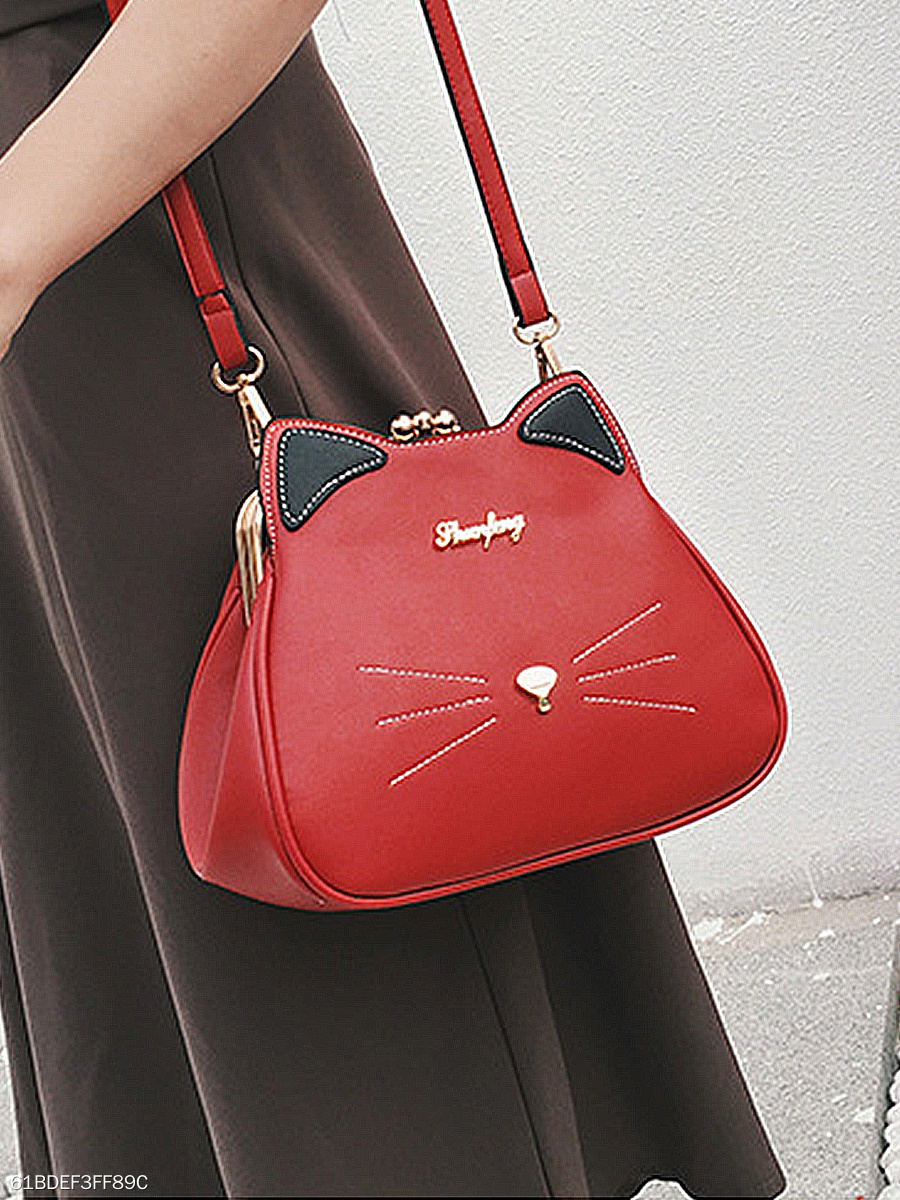 PU Cartoon Color Block Shoulder Bags