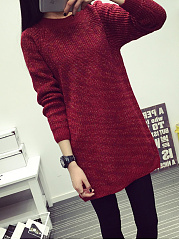 Round Neck  Plain  Long Sleeve Long Sweaters Pullover