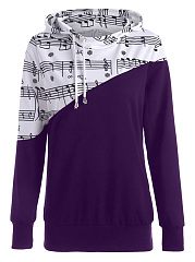 Awesome Drawstring Music Stave Printed Hoodie