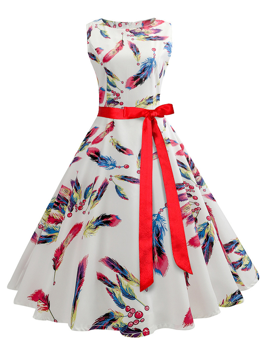 Round Neck  Bowknot  Belt  Feather Printed  Cotton Skater Dresses